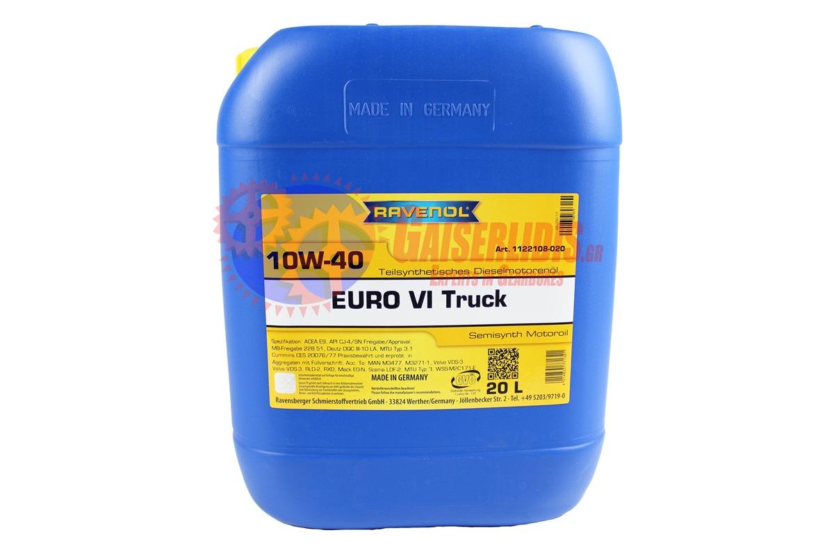 Λάδι EURO VI TRUCK SAE 10W-40 20L RAVENOL OIL0023