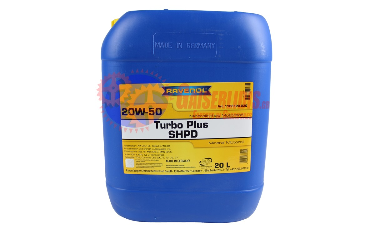 Λάδι TURBO PLUS SHPD SAE 20W-50 20L RAVENOL OIL0024